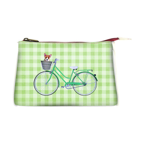 Retro bicycle faux leather print makeup pouch