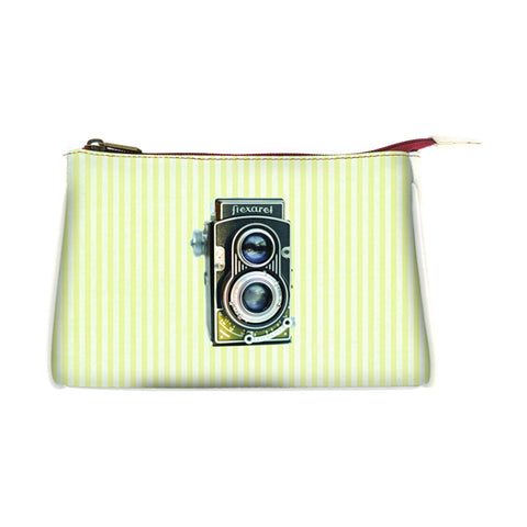 Retro camera faux leather print makeup pouch