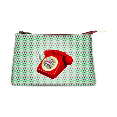 Retro telephone faux leather print makeup pouch