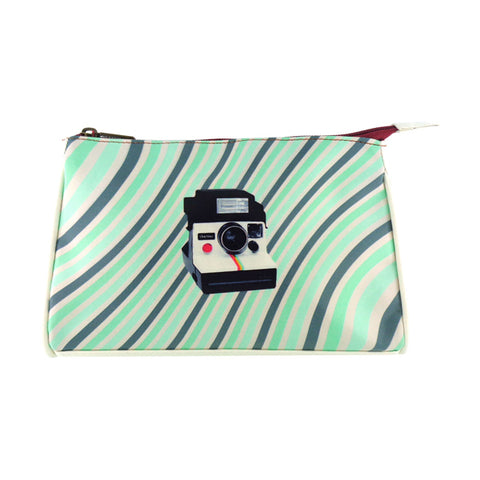 Retro Polaroid instant camera faux leather print makeup pouch