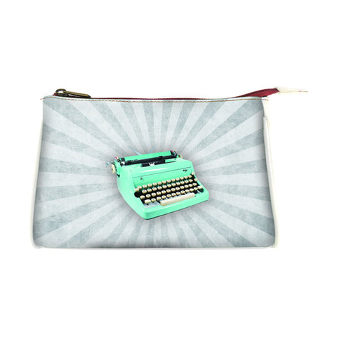 Retro typewriter faux leather print makeup pouch