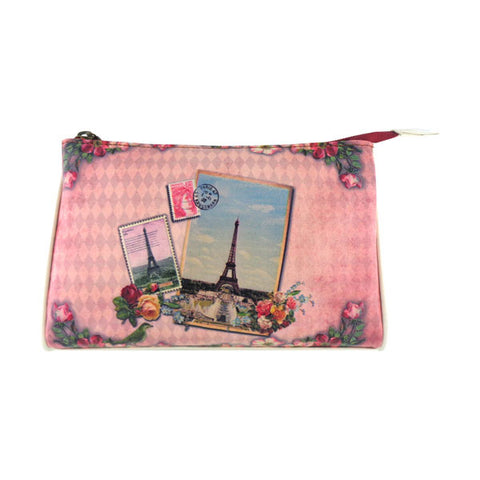 Vintage looking faux leather Paris Eiffel Tower print makeup pouch. Wholesale available at www.mlavi.com