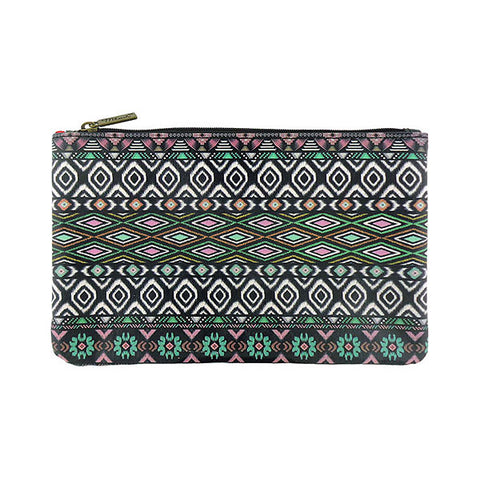 Aztec print vegan faux leather medium flat makeup pouch