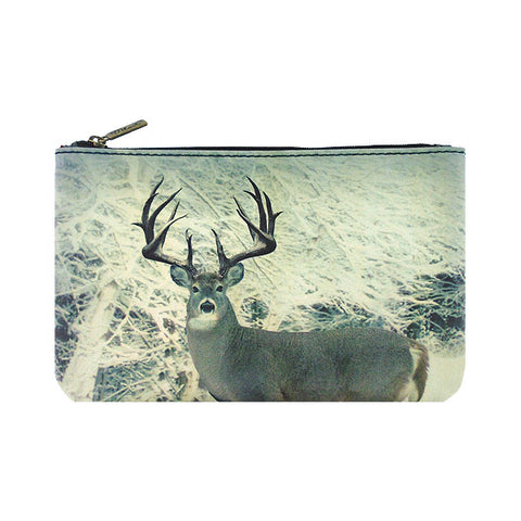 Shop Mlavi Studio's whimsical vegan flat medium makeup pouch with deer in snowy forest print. A great gift for family & friends. Wholesale available at www.mlavi.com for gift shops, fashion accessories & clothing boutiques in Canada, USA & worldwide.