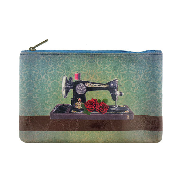 Shop Mlavi Studio's whimsical vegan flat medium makeup pouch with Vintage style sewing machine & rose illustration print. A great gift for family & friends. Wholesale available at www.mlavi.com for gift shops, fashion accessories & clothing boutiques in Canada, USA & worldwide.