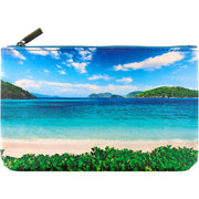 Online shopping for Mlavi's vegan medium flat makeup pouch with white sand beach and blue sky print.