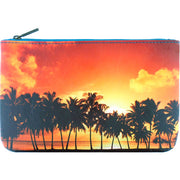 Online shopping for Mlavi's vegan medium flat makeup pouch with golden sunset on plam tree beach print.