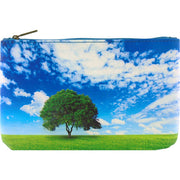 Online shopping for Mlavi's vegan medium flat makeup pouch with a tree on green filed under the blue sky print.
