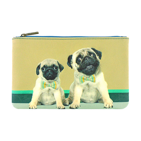 Shop Mlavi's Eco-friendly vegan leather medium/makeup pouch with pug daddy and pug puppy print. It's great for everyday use & a unique gift for yourself, family & friends. More pet/dog/cat/animal theme fashion accessories are available for wholesale at www.mlavi.com for gift shop & boutique buyers worldwide.