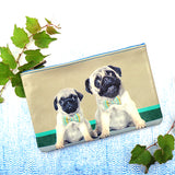 Shop Mlavi Studio's Eco-friendly vegan leather medium/makeup pouch with pug daddy and pug puppy print. It's great for everyday use & a unique gift for yourself, family & friends. More pet/dog/cat/animal theme fashion accessories are available for wholesale at www.mlavi.com for gift shop & boutique buyers worldwide.