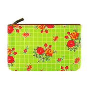Shop Mlavi Studio's whimsical vegan flat medium makeup pouch with Mexican oilcloth style flower print. Great gift for family & friends. Wholesale available at www.mlavi.com gift shops, fashion accessories & clothing boutiques in Canada, USA & worldwide.