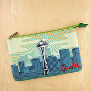 BP-ST001: Seattle skyline print medium flat pouch