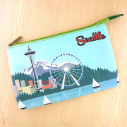 BP-ST002: Seattle ocean front skyline print medium flat pouch