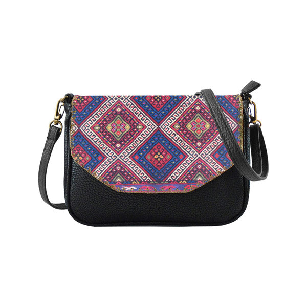 Balkan print faux/vegan leather bag/clutch: BS-BK000
