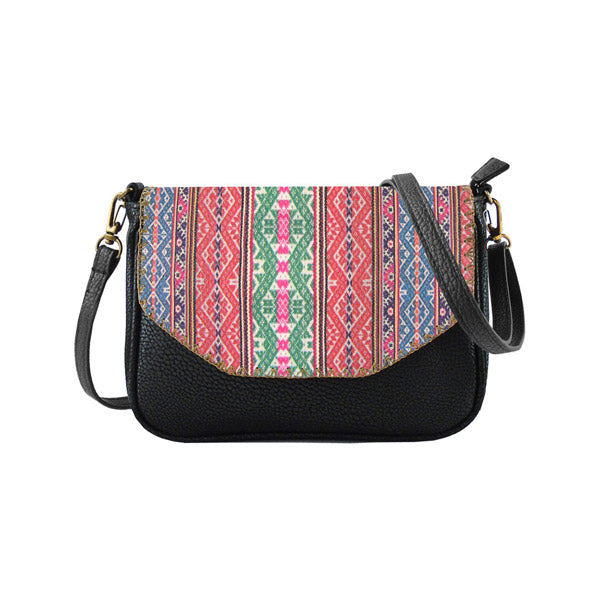 Shop Balkan textile pattern print vegan leather bag/clutch by Mlavi, Eco-friendly & cruelty free.