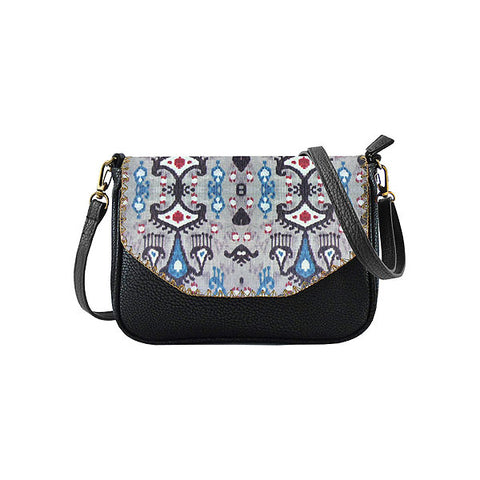 Ayu Ikat print faux leather cross body seattle bag
