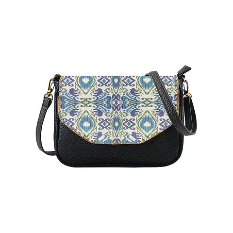 Dina Ikat print faux leather cross body seattle bag