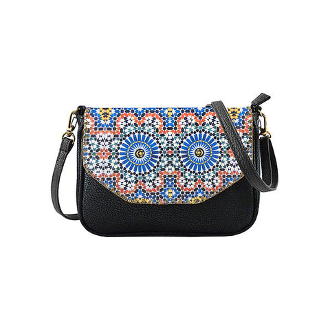 Shop Mlavi Studo's Moroccan Pattern Print Vegan/Faux Leather Cross Body Bag/clutch. Wholesale available at www.mlavi.com