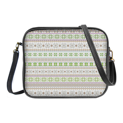 Shop Mlavi's whimsical Nordic Scandinavian pattern print vegan leather cross body bag made with SGS tested toxic-free Eco-friendly cruelty free vegan materials. Wholesale available at www.mlavi.com for gift shop, fashion accessories & clothing boutique in Canada, USA & worldwide.