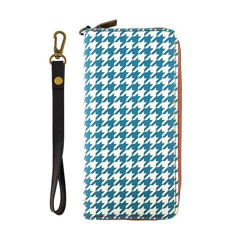 Houndstooth print faux leather large wristlet zipper wallet