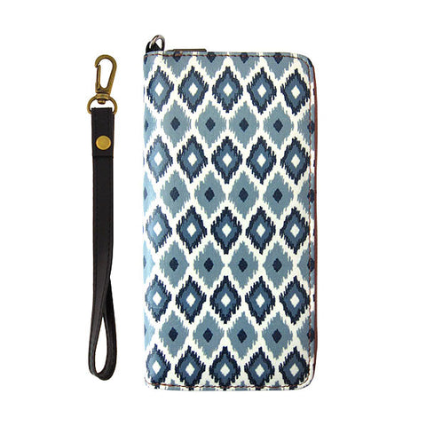 Diamond ikat print faux leather large wristlet zipper wallet
