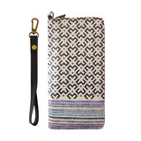 Happo print faux leather large wristlet zipper wallet