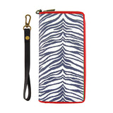 Zebra print faux/vegan leather large wristlet wallet