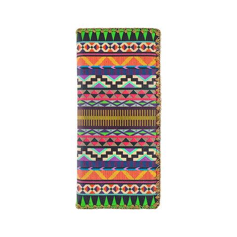 Aztec print vegan faux leather large flat wallet