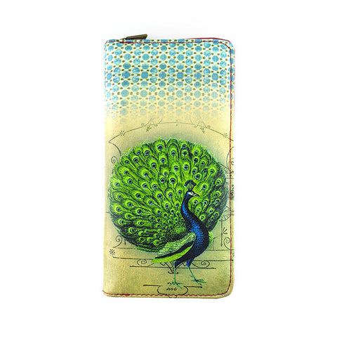 Peacock print faux leather large zipper wallet - Mlavi  - 1
