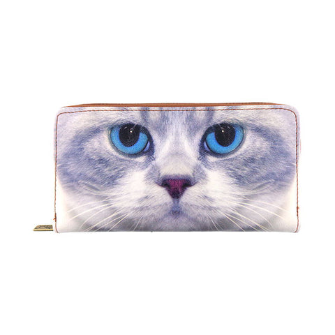Blue eye kitty faux leather large zipper wallet - Mlavi  - 1