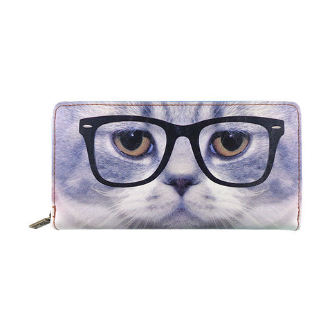 Cat with eye glasses faux leather large zipper wallet - Mlavi  - 1