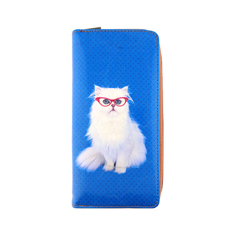 Snow white cat with red eye glasses faux leather large zipper wallet - Mlavi  - 1