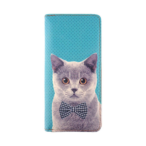 Cat with bow tie faux leather large zipper wallet - Mlavi  - 1
