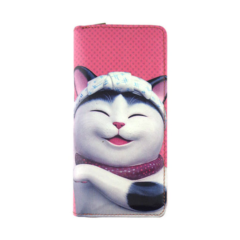 Shop Mlavi's whimsical cat vegan large wallet. Wholesale available at http://www.mlavi.com/cat-and-dog-collection-vegan-bag-wallet-accessories-wholesale.html