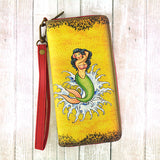 Retro tattoo mermaid print faux leather large zipper wallet