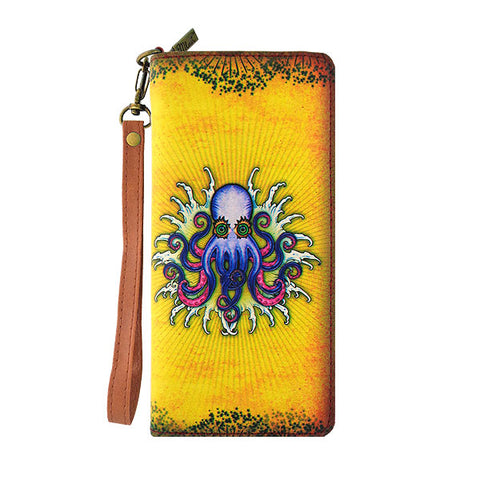 Shop Mlavi Tattoo Style octopus Print Large Vegan Leather Wallet made with Eco-friendly cruelty free vegan materials. It can carry smart phone, passport, card, cash & small personal items. Great gift idea. Wholesale available at www.mlavi.com with other whimsical fashion accessories.