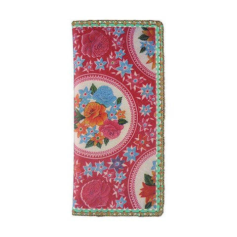 Sara Mexican oilcloth inspired floral print vegan leather large wallet