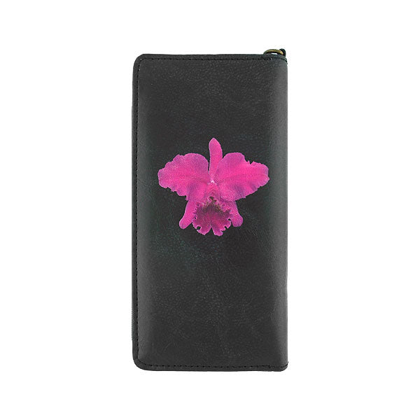Shop Mlavi's orchid flower printed vegan large wristlet wallet made with Eco-friendly & cruelty free vegan materials. Gift shop & boutique buyer can order wholesale at www.mlavi.com for ethically made & unique fashion accessories including bags, wallets, purses, coin purses, travel accessories & gifts.