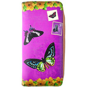 Shop Mlavi vegan leather vintage style Large Wallet features whimsical butterfly & hibiscus flower illustration. A great gift idea for yourself & your friends & family. More whimsical fashion accessories are available for wholesale at www.mlavi.com for gift shop,  , fashion accessories & clothing boutique buyers in Canada, USA & worldwide.