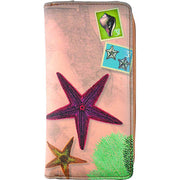 Shop Mlavi vegan leather vintage style Large Wallet features whimsical starfish & coral illustration. A great gift idea for yourself & your friends & family. More whimsical fashion accessories are available for wholesale at www.mlavi.com for gift shop,  , fashion accessories & clothing boutique buyers in Canada, USA & worldwide.