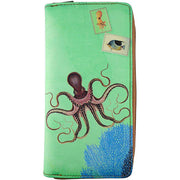 Shop Mlavi vegan leather vintage style Large Wallet features whimsical octopus & coral illustration. A great gift idea for yourself & your friends & family. More whimsical fashion accessories are available for wholesale at www.mlavi.com for gift shop,  , fashion accessories & clothing boutique buyers in Canada, USA & worldwide.