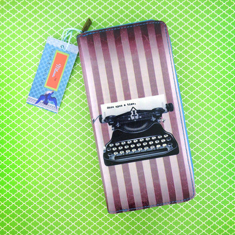 Retro typewriter print faux leather large zipper wallet