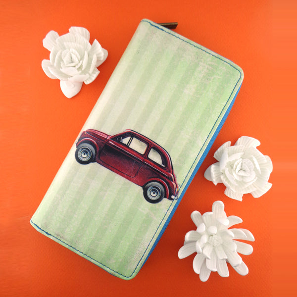Shop Mlavi's cool retro Italian Fiat car print vegan large wallet made with SGS tested toxic-free Eco-friendly cruelty free vegan materials. Wholesale available at www.mlavi.com for gift shop, fashion accessories & clothing boutique in Canada, USA & worldwide.
