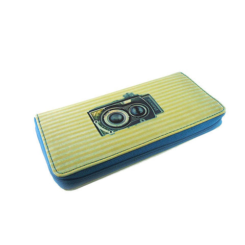 Retro camera print faux leather large zipper wallet