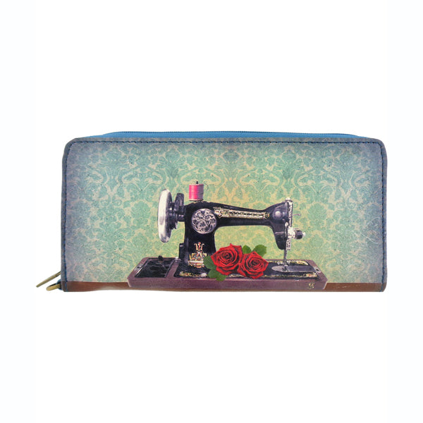 Shop Mlavi's cool retro sewing machine & scissor print vegan large wallet made with SGS tested toxic-free Eco-friendly cruelty free vegan materials. Wholesale available at www.mlavi.com for gift shop, fashion accessories & clothing boutique in Canada, USA & worldwide.