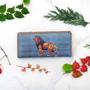 Online shopping for Mlavi Studio's whimsical vegan large flat wallet with lion print. A great wallet for everyday use & a cool gift for family & friends. Free gift box with every purchase. Wholesale at www.mlavi.com for gift shops, clothing & fashion accessories boutiques, museum gift stores in Canada, USA & worldwide.