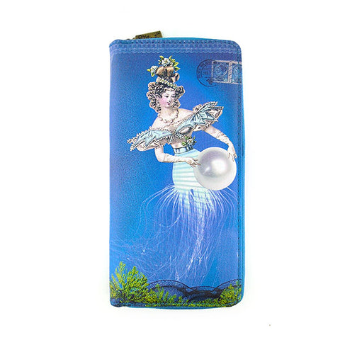Jelly mermaid print faux leather large zipper wallet