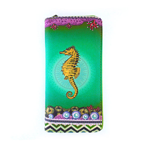 Yellow seahorse print faux leather large zipper wallet