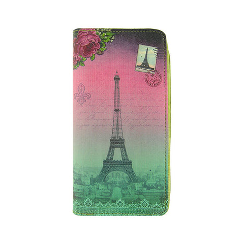 Paris Eiffel tower & macaron print faux leather large zipper wallet - Mlavi  - 1
