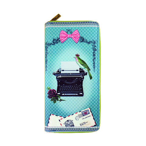 Bird on typewritter print faux leather large zipper wallet